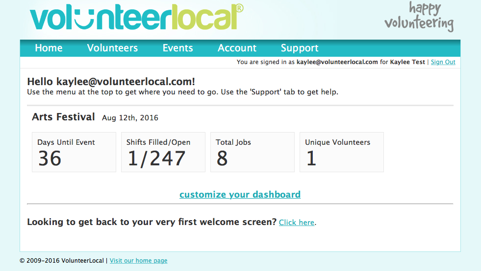 VolunteerLocal Dashboard