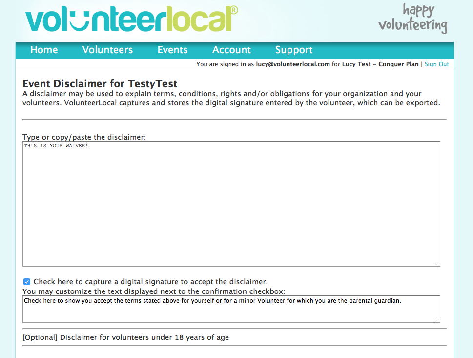 VolunteerLocal Disclaimer